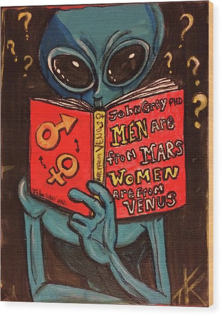 Alien Looking For Answers About Love Wood Print