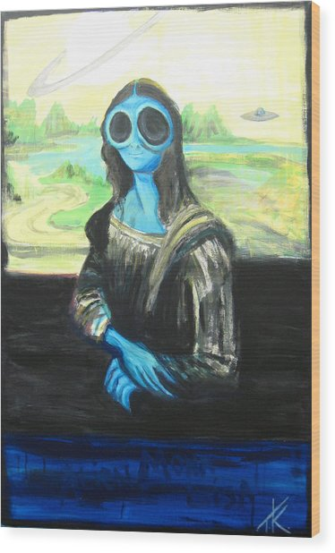 alien Mona Lisa Wood Print
