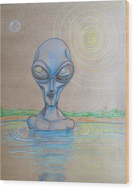 Alien Submerged Wood Print