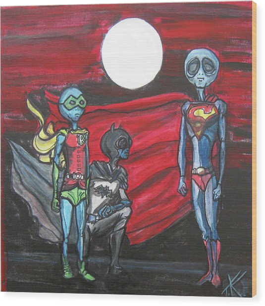 Alien Superheros Wood Print