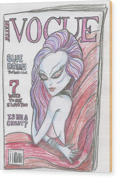 Alien Vogue Wood Print
