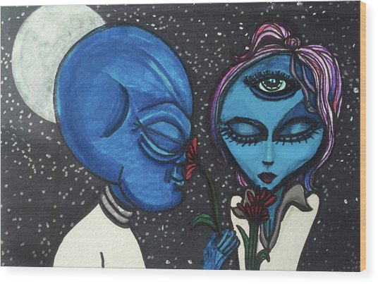 Aliens Love Flowers Wood Print