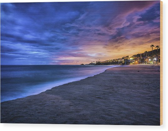 Aliso Beach Lights Wood Print