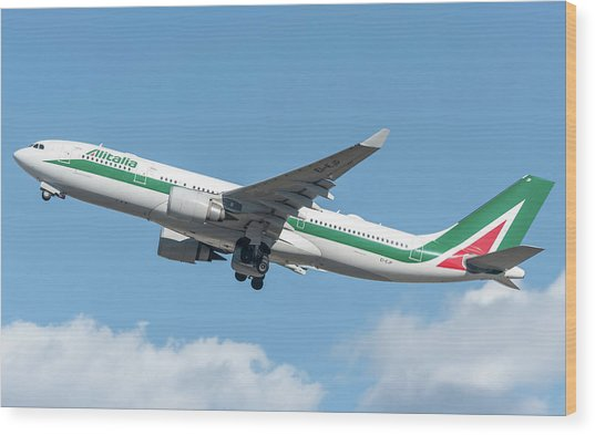 Alitalia Airbus A330-200 Departed From Milano Malpensa Wood Print