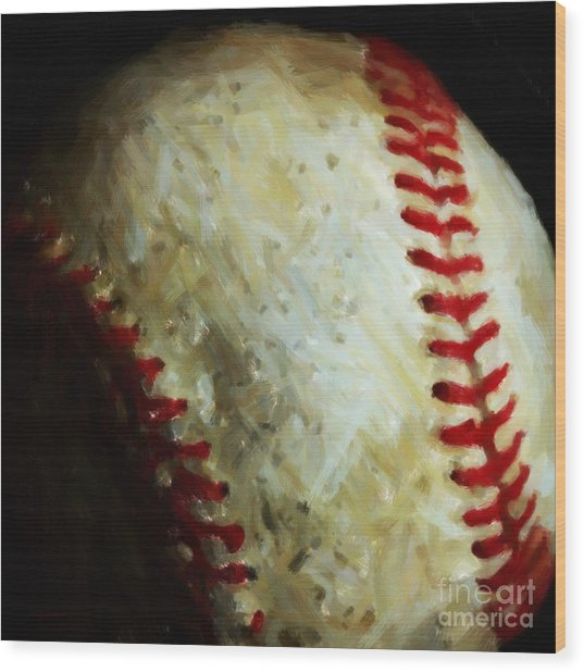 All American Pastime - Baseball - Square - Painterly Wood Print