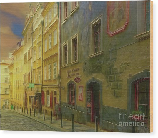 All Downhill From Here - Prague Street Scene Wood Print