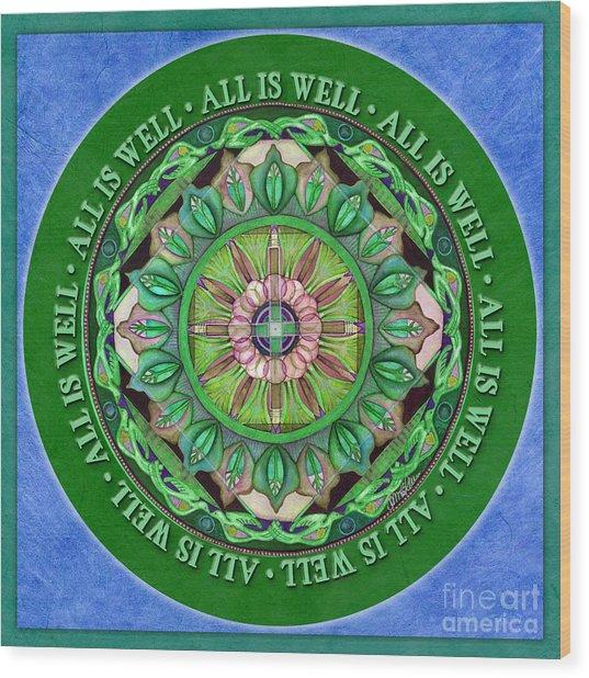 All Is Well Mandala Prayer Wood Print