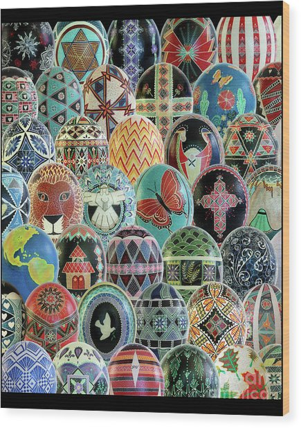 All Ostrich Eggs Collage Wood Print