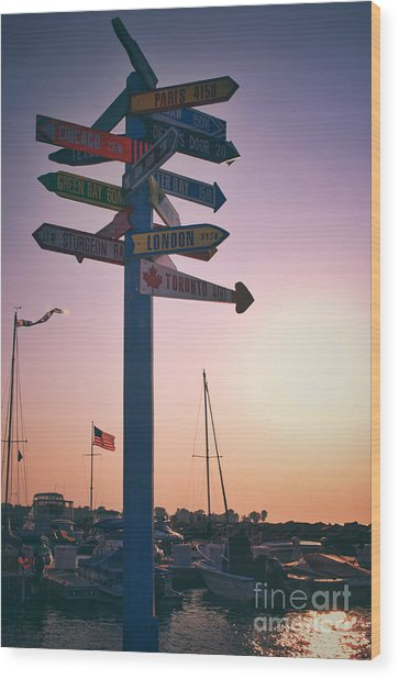 All Signs Point To Sunset Wood Print by Mark David Zahn Photography