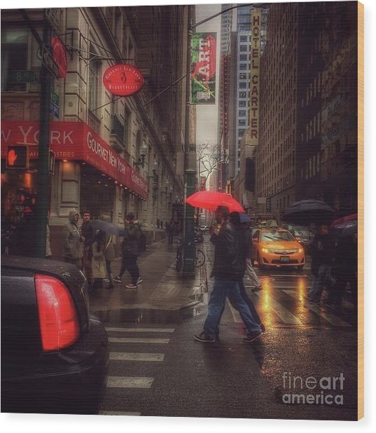 All That Jazz. New York In The Rain. Wood Print