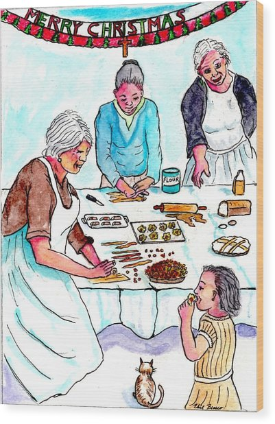 All The Girls Baking For Christmas Wood Print