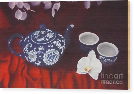 All The Tea In China Wood Print by Colleen Brown
