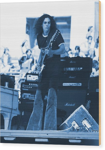 Allen Collins In Blue Oakland 1975 Wood Print