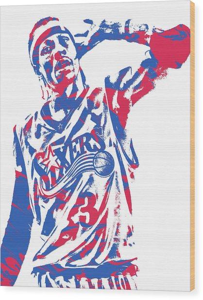 Allen Iverson Philadelphia 76ers Pixel Art 14 Wood Print