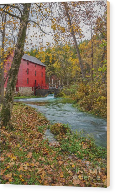 Alley Mill In Autumn Wood Print