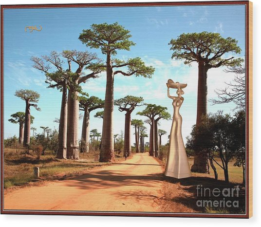 alley of baobabs and a statue of a  Girl Wood Print by Pemaro