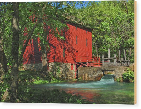 Alley Spring Mill Wood Print