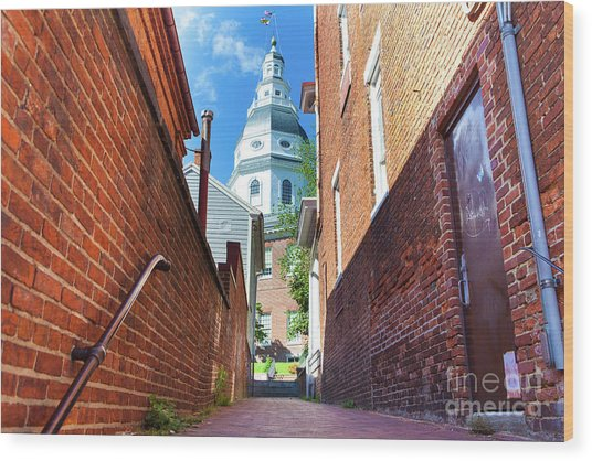 Alley View Of Maryland State House  Wood Print