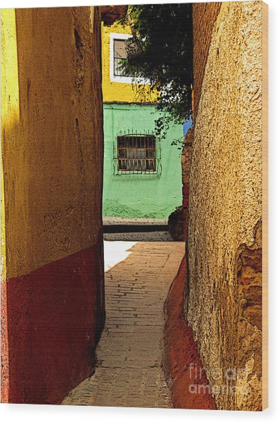 Alley With The Green Casa Wood Print by Mexicolors Art Photography