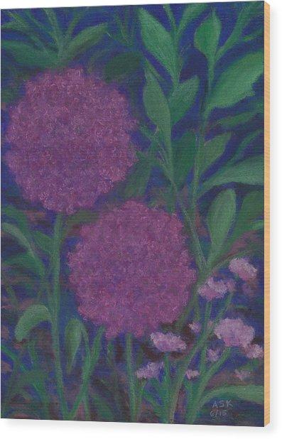 Allium And Geranium Wood Print