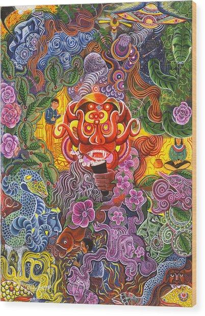 Wood Print featuring the painting Allpa Manchari by Pablo Amaringo