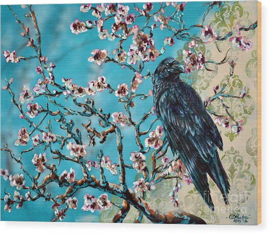 Almond Branch And Raven Wood Print