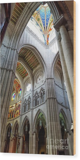Almudena Cathedral Interior In Madrid Wood Print