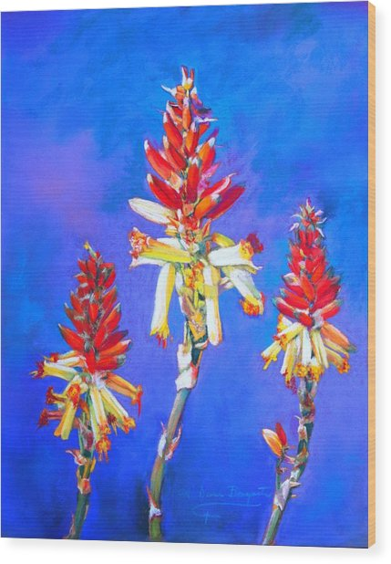 Aloe Flower Spike Wood Print