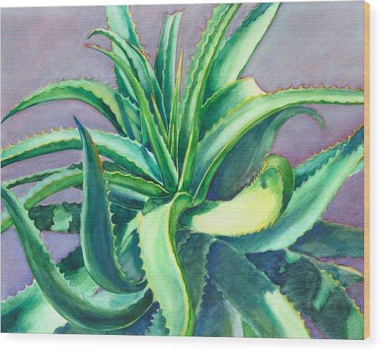 Aloe Vera Watercolor Wood Print