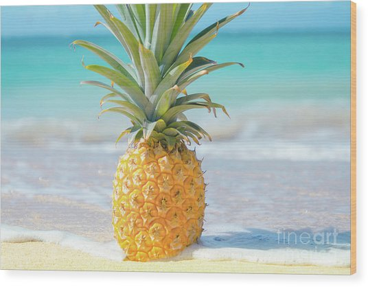 Wood Print featuring the photograph Aloha Pineapple Beach by Sharon Mau