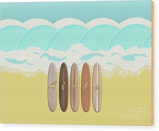 Aloha Surf Wave Beach Wood Print