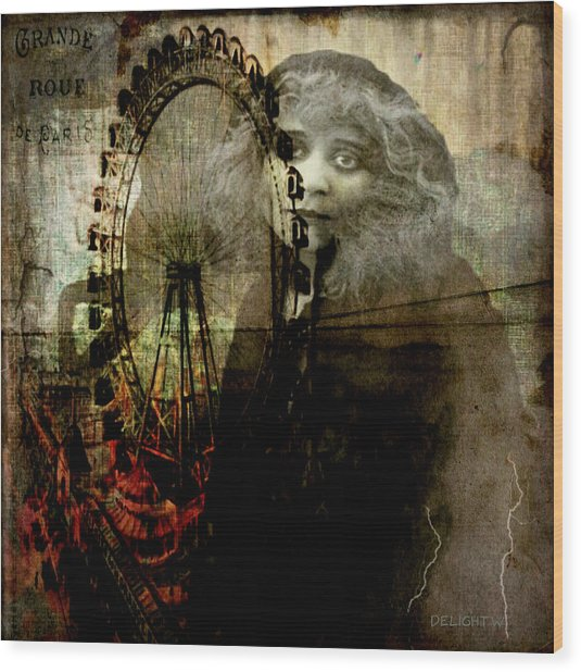 Wood Print featuring the digital art Alone At The Fair by Delight Worthyn