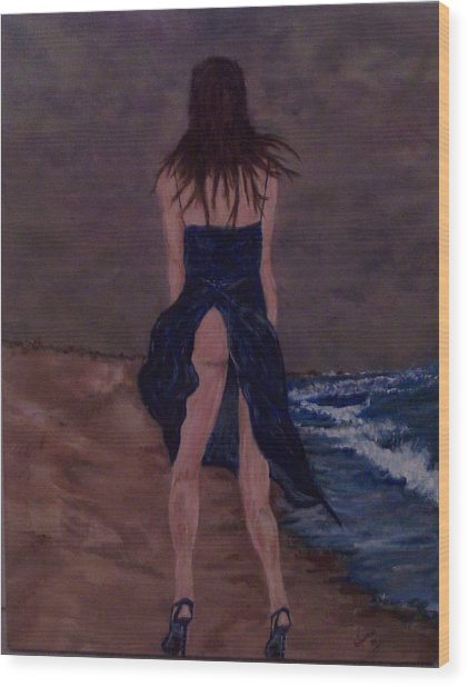 Alone By The Sea Wood Print by Francis Bourque