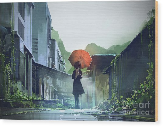 Wood Print featuring the painting Alone In The Abandoned Town by Tithi Luadthong