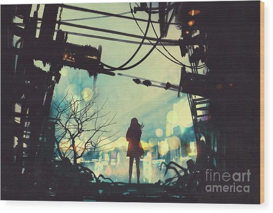 Wood Print featuring the painting Alone In The Abandoned Town#2 by Tithi Luadthong