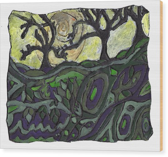 Alone In The Woods Wood Print