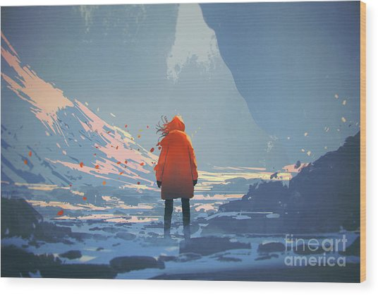 Wood Print featuring the painting Alone In Winter by Tithi Luadthong
