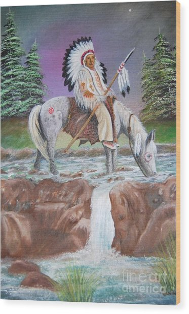 Alone With The Great Spirit Wood Print by Janna Columbus