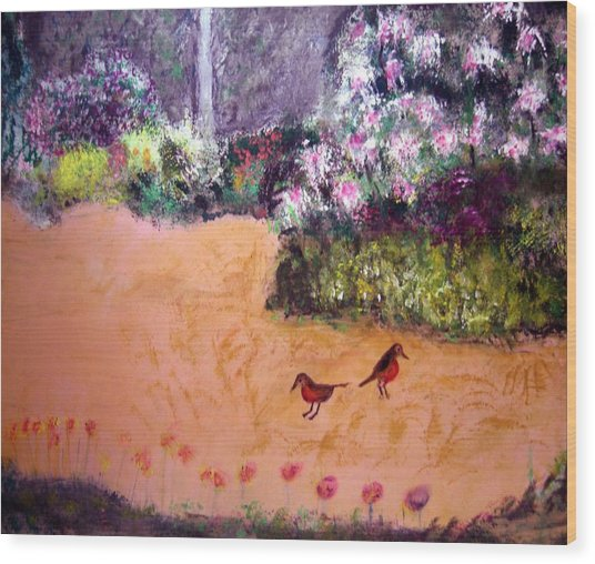 Along The Garden Path Wood Print by Michela Akers