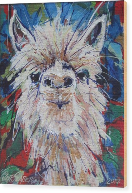 Alpaca Crazed Wood Print