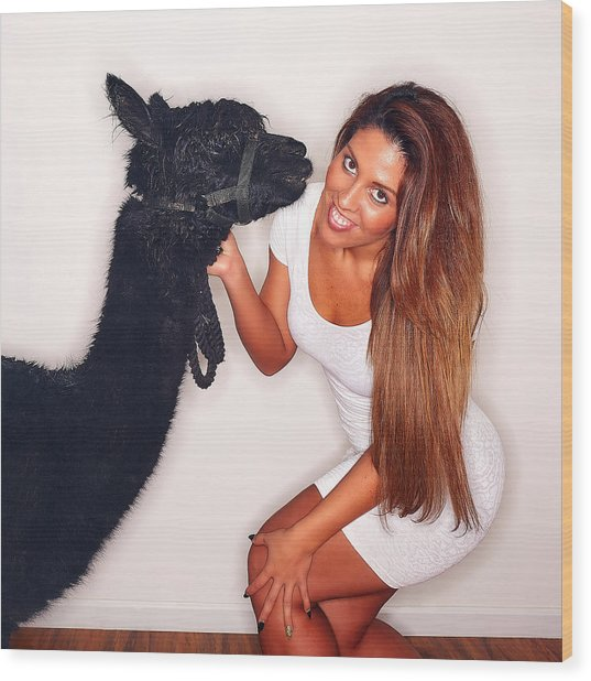 Alpaca Emily And Breanna Wood Print