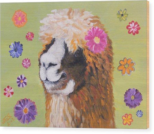 Alpaca Hippie Wood Print