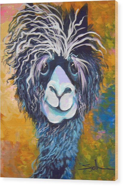 Alpaca Punked Wood Print