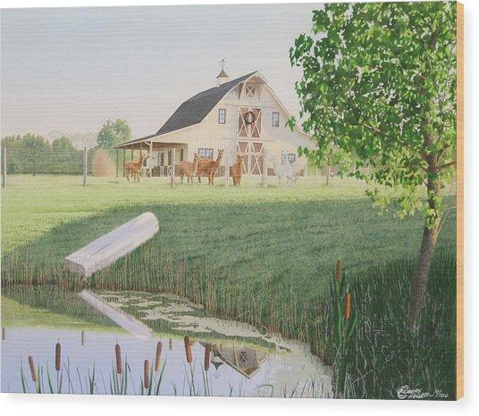 Alpaka Farm Wood Print