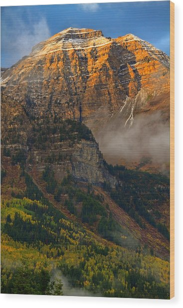 Alpenglow On Mt. Timpanogos Wood Print