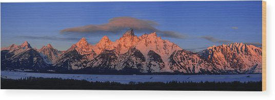 Alpenglow Tetons 2 Wood Print