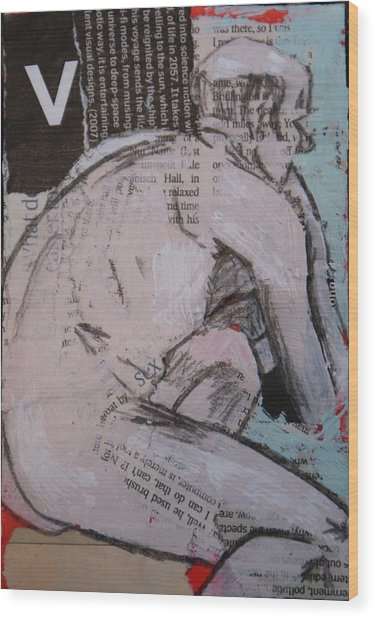 Alphabet Nude V Wood Print by Joanne Claxton