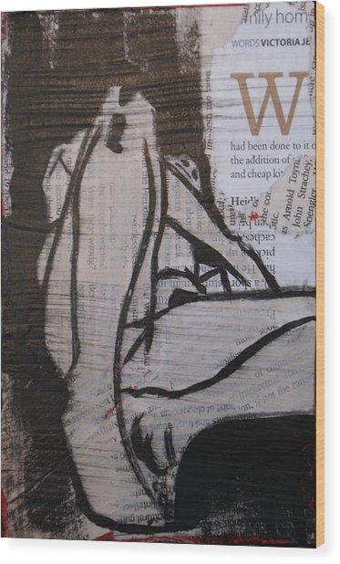 Alphabet Nude W Wood Print by Joanne Claxton
