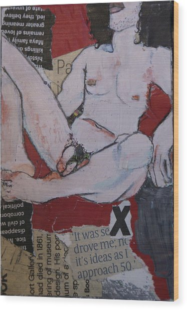 Alphabet Nude X Wood Print