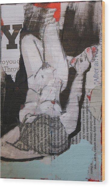 Alphabet Nude Y Wood Print by Joanne Claxton